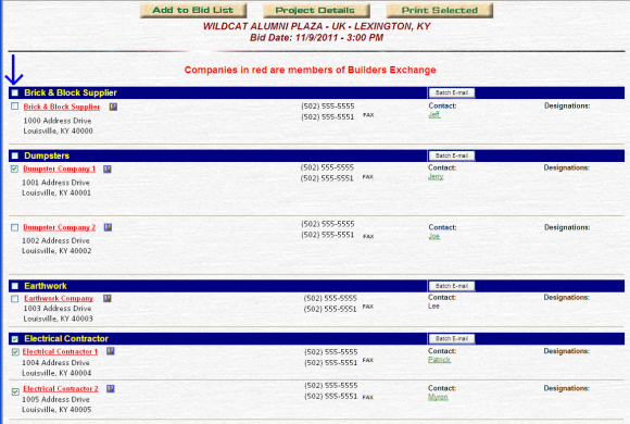 Bidders Lists options page.