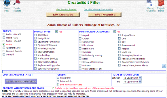 Create/Edit Filter Page
