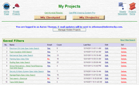 My Projects Filter List