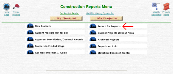 Construction Reports Menu